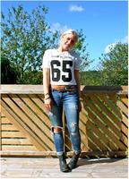 2015 European Fashion stripes alphanumeric Printed T-Shirt Free shipping