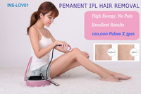 Free shipping !  Safe Painless Hair Removal Pink depilation laser  Machine 3,00,000 times flash lamp life 3 functions in 1