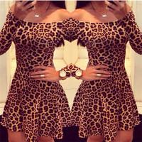 Hot Selling Women Sexy Leopard Dresses Pleated Long Sleeves vestidos femininos Ladies Slim Sheath Mini Dress Plus Size cx852878