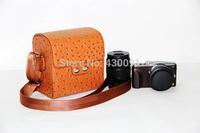 ostrich pattern PU leather mirrorless camera bag case for Panasonic mirrorless camera Free Shipping