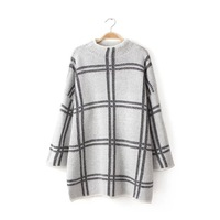 2015 Spring New Women Casual Three Quarter Sleeve O Neck Knitted Plaid Pullover Dress Desigual Brand Fashion Lady Dresses CS149