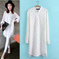2015 Spring New Women Casual Long Sleeve Mandarin Collar Lace Blouse Dress Desigual Brand Fashion Lady Cute White Dresses CQ196
