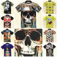 TOP FASHION New Arrived 3D Printed T Shirt Skull/Orange/Cartoon/Deer/Panda T-Shirt Casual Brand Women/Man Unisex Tops Size M-XXL