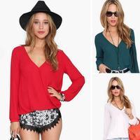 Free Shipping 2015 Spring Summer Fashion Casual Chiffon Shirts Women's Polo Blouse