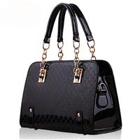 Portable women's 2014 elegant handbag shiny embossed all-match shaping messenger bag gift