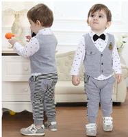 10# direct manufacturers for autumn wear 3 piece boy gentleman set T-shirt + vest+ trousers