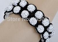 Stretch Elastic Shamballa Bracelets 10mm Red/Yellow/Black/Blue/Pink Crystal Ball Shambala Jewelry New Arrivel 23 Colors SM-8