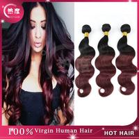 Brazilian Ombre Hair Extensions 5A Two Tone Color #1b/#99J  Brazilian Virgin Hair Body Wave 3 pcs/lot Brazilian Human Hair Wave