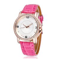 New Arrival 2015 Women Elegant Dress Watches Pu Strap Rose Gold Case Analog Fashion Casual Rhinstone Quartz Wristwatches 2168
