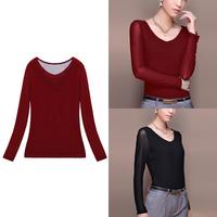 Fashion Women Long Sleeve T Shirt Tops 2014 Women Plus Size Lace Sexy Bottoming Tee T Shirts