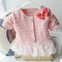2015 New Free Shipping Spring Children Patchwork Lace Sweatshirts KidsCute Bow Hoddies Baby Girl Cardigan