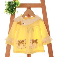 2015 New baby girls princess tops,children cotton tees t shirts,swan collar,bow,pocket,4 colors,5 pcs/lot,wholesale,2081