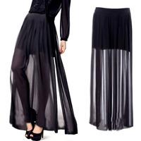 Women's See Through Sheer High Side Split Black Pleated Chiffon Maxi Long Skirt Free Shipping