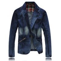 XXXL Plus Size Spring Fall Fashion Men's Slim Fit Blue Denim Jacket Casual Jean Coats Blazer Formal Dress Blazers For Men Free