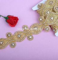 Luxury Rhinestones Applique for Wedding Sash Bridal Decoration 7.5cn Width Handmade with Glue on Back