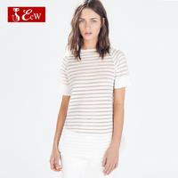 ECW High Quality  Women T shirt Fashion Linen Silk Slim Top Stripe Hollow T shirt Roupas Femininas Tops