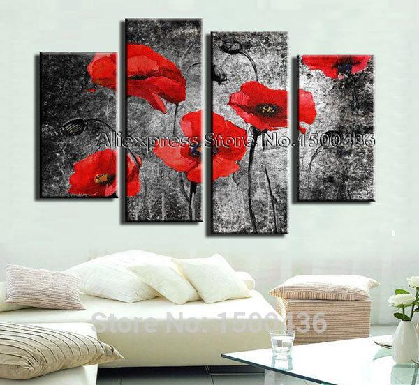 Pintados à mão flor abstrata papoulas pintura a óleo 4 peça Home Decor Canvas Wall Art imagem para sala de estar(China (Mainland))