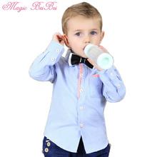 Primavera ragazzi camicie solido 1-5 anni singolo- petto due colori signore arco semplice ed elegante per bambini camicette(China (Mainland))