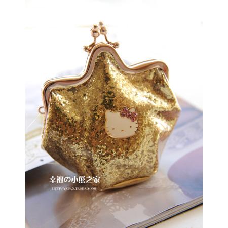 0 Star models cute cartoon hello kitty purse shiny gold buckle women's coin bag(China (Mainland))