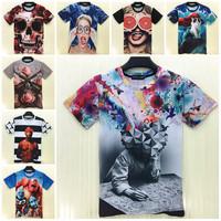 TOP FASHION 2015 Summer New Arrived Short Sleeve T Shirt 3D Print Skull/Flower/Gun T-Shirt Casual Sport Tops Brand Design tshirt