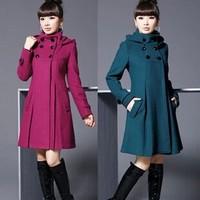 Autumn and Winter Coat Wool Double-Breasted Outerwear Wool Coat Women Medium-Long Coat Wool Coat