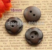 18mm, Dark Brown flower wooden buttons, 2 holes wooden button for garment, Wholesale (ss-90)