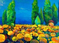 NEW 2015  hand-painted Free shipping  famous oil painting high quality Modern artists painting  yellow flowers DM-20141227041