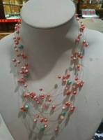 Many shells exquisite flowers blossom necklace. Free shipping.   A-549
