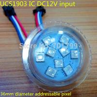 36mm diameter DC12V UCS1903 address pixel light;IP68;9*pcs 5050 SMD RGB LEDs,2.16W