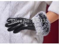 Women Winter Genuine Sheepskin Gloves Rabbit Fur Touch Screen Leather Glove New  Womens Warm Gloves