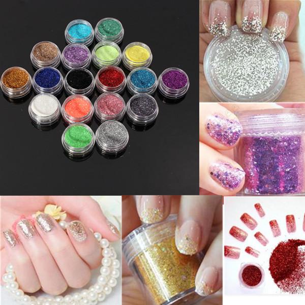 Fashion 18 Pcs Nail Art Glitter Powder Dust UV Gel Acrylic Powder 3D Decoration Women Beauty Manicure Tools Tips Hotting(China (Mainland))