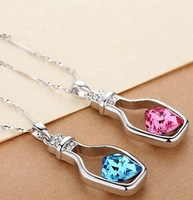 1 PCS Hot Women's 9K White Gold Filled CZ & Heart Shape Crystal Necklace & Pendant
