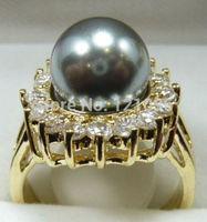 Genuine Gray Shell Pearl Ring AAA Grade +16