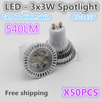 DHL free shipping,540LM  LED white/warm highlight 3*3W  Spotlight(can be dimmer) for 85-245V , quality assurance  50PCS/lot