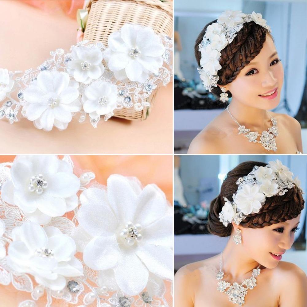 Graceful Lace Costume Pearls Bridal Floral Veils Headwear Wedding Headdress Flower Hair Tiara Wedding Dress Accessory E#CH(China (Mainland))