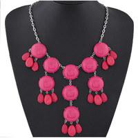 Fashion jewelry Bohemian Handmade Layered Beads Tassel Bib Multi-colored Beaded Water Drop Pendant Necklace