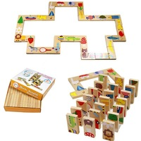 Animal Domino Puzzles High Quality Learning And Educational Toys Wooden Puzzle Toy For Baby Children Christmas Gift Wholesale