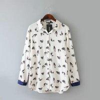 2015 New Summer Women Long Sleeve Bird Print Chiffon Shirts Fashion Slim Blouses Shirts for Women,matching white blouse