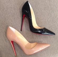 Donne pompe tacchi alti 2015 moda scarpe a punta scarpe donna tacchi sottili pompe inferiori rossi soli tacchi alti colore nudo delle pompe delle donne  (China (Mainland))