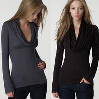 autumn spring slim body tee shirt women t shirts women brand fashion scarf collar tops