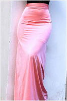 Free Shipping 2015 Sexy Fashion High Waisted Pink Flared Maxi Skirt NA71075 Casual Women Long Bodycon Skirts
