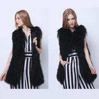 2015 Winter New 100% Genuine Women Sheep Fur Coat Vest Waistcoat Mongolia Sheep Fur Slim Medium Long Gilet