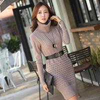 Free Shipping Autumn Winter Korean New Women Sweater , Slim Thin Medium-Long Pullovrs Turtleneck Sweater Dress