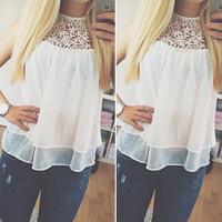 EBay aliexpress explosion models Korean loose sleeveless white lace yarn chiffon blouse leisure