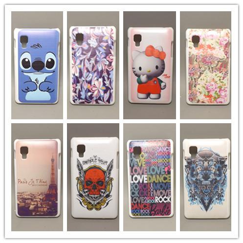 fashion design Rubber Flower Painting Hard Plastic cell Phone Case For LG Optimus L4 II E440 E445 E470 free shipping(China (Mainland))