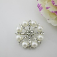 (OY413 30mm)100Pcs Large Clear Crystal Ivory Pearl Shank Rhinestone Button  For Scrapbooking Garment