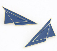 wholesale cheap Fashion earrings quality gold enamle fly triangle studs earrings free shipping for $15 mini mix order 3pair/lot