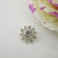 (OY424 15mm)100pcs Shinny Charming Clear Crystal Rhinestone Button Shank For Flower Center