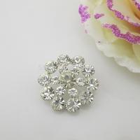 (OY414 27mm)100Pcs Round Clear Shinny Diamond Shank Rhinestone Button For Garment Accessory