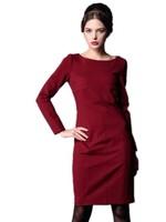 European Stations Women Profession OL Slim Knee-length Dress , Long Sleeve Solid Color Pencil Dress Zipper Free Shipping